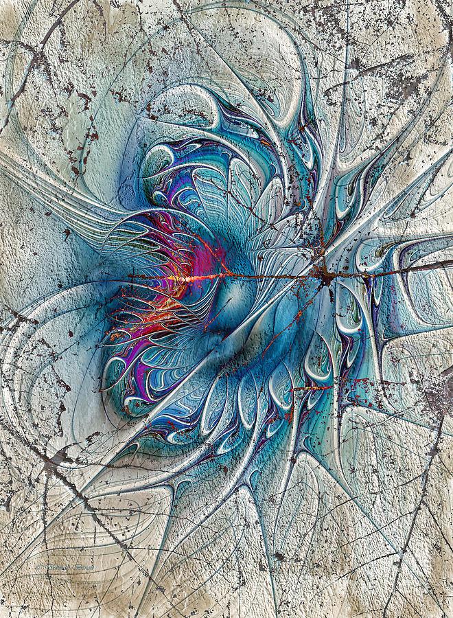 Geometric Digital Art - The Blue Mirage by Deborah Benoit