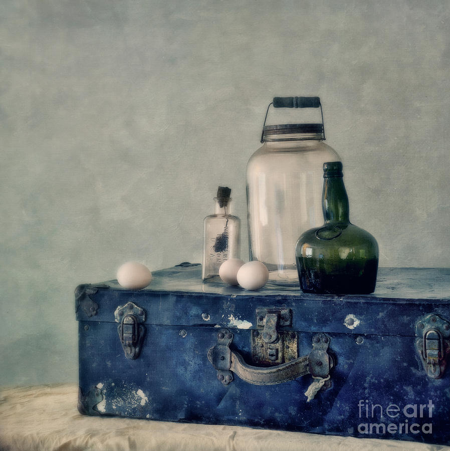Eggs Photograph - The Blue Suitcase by Priska Wettstein