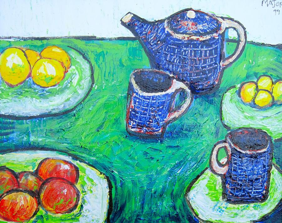 Still Painting - The Blue Teapot by Clarence Major