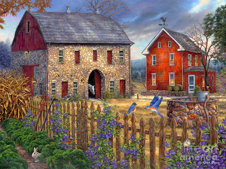 Farm Painting - The Bluebirds Song by Chuck Pinson