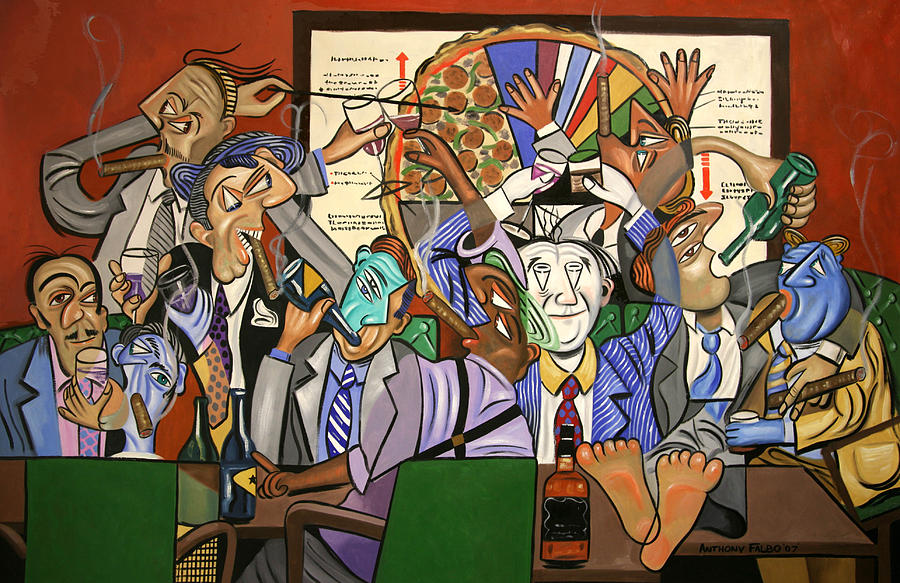 The Boardroom Painting - The Board Room by Anthony Falbo