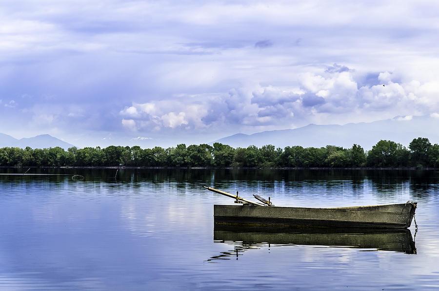 Autumn Photograph - The Boat In Kerkini. by Slavica Koceva
