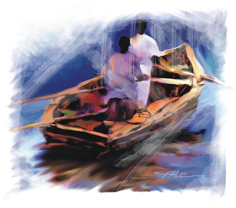 Haiti Painting - The  Boatmen by Bob Salo