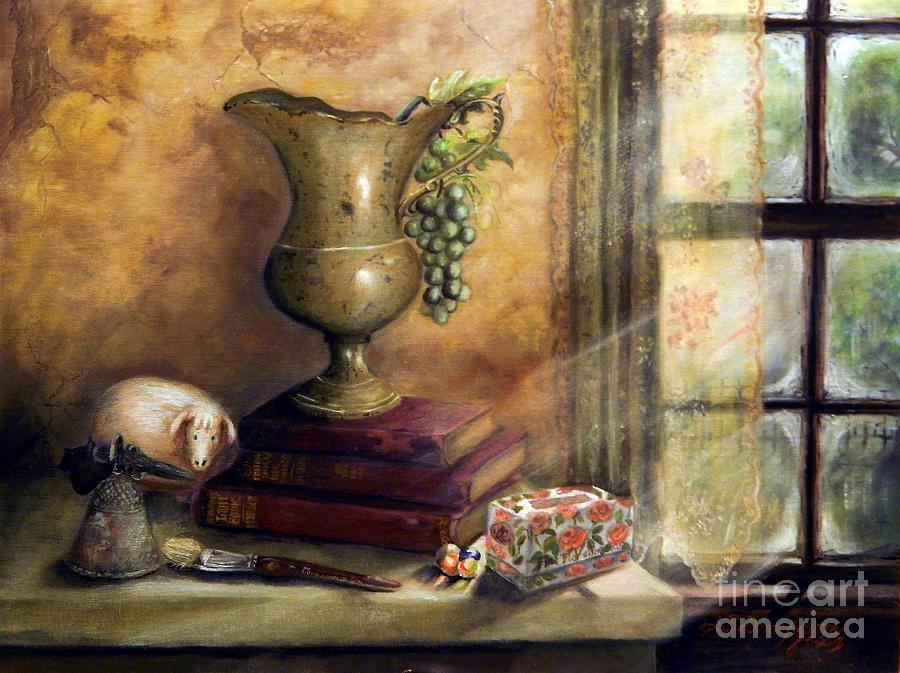 Decorate Painting - The Books By The Window by Sandra Aguirre
