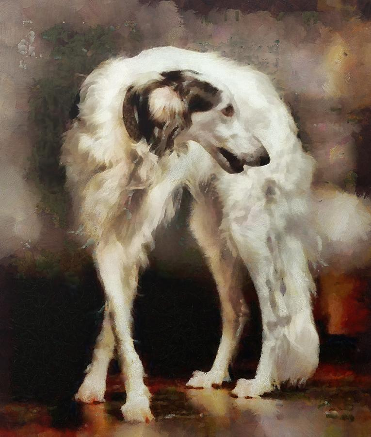Russian Wolfhound Painting - The Borzoi Uturn by Janice MacLellan