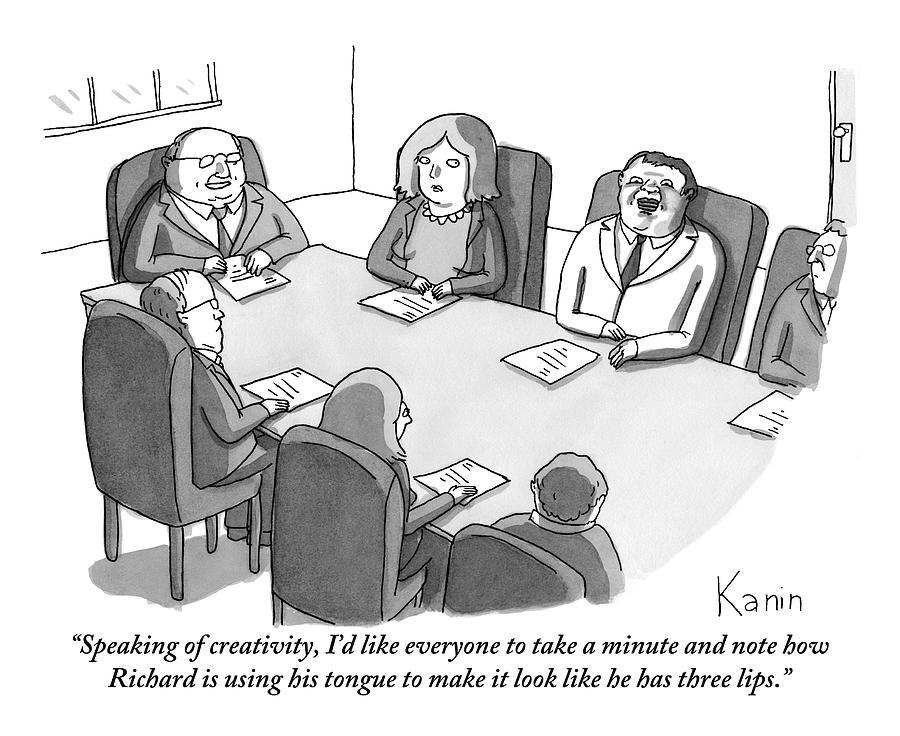 The Boss At An Executive Meeting Points Out An Drawing by Zachary Kanin