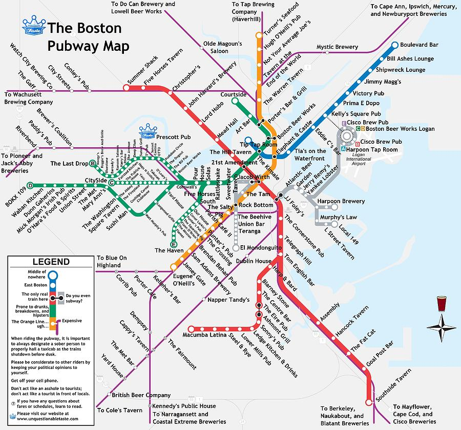 Beer Digital Art - The Boston Pubway Map by Unquestionable Taste