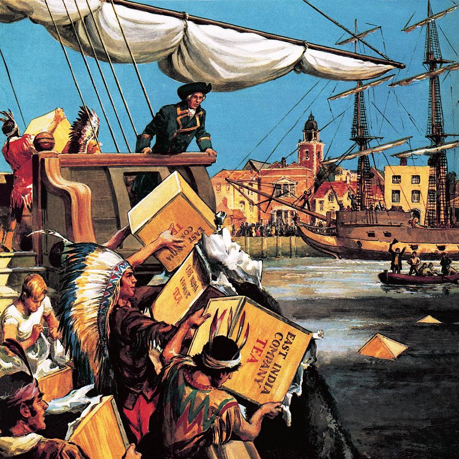 the boston tea party painting by english school. Black Bedroom Furniture Sets. Home Design Ideas