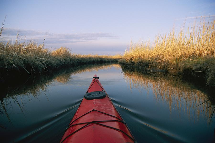 No People Photograph - The Bow Of A Kayak Points The Way by Skip Brown