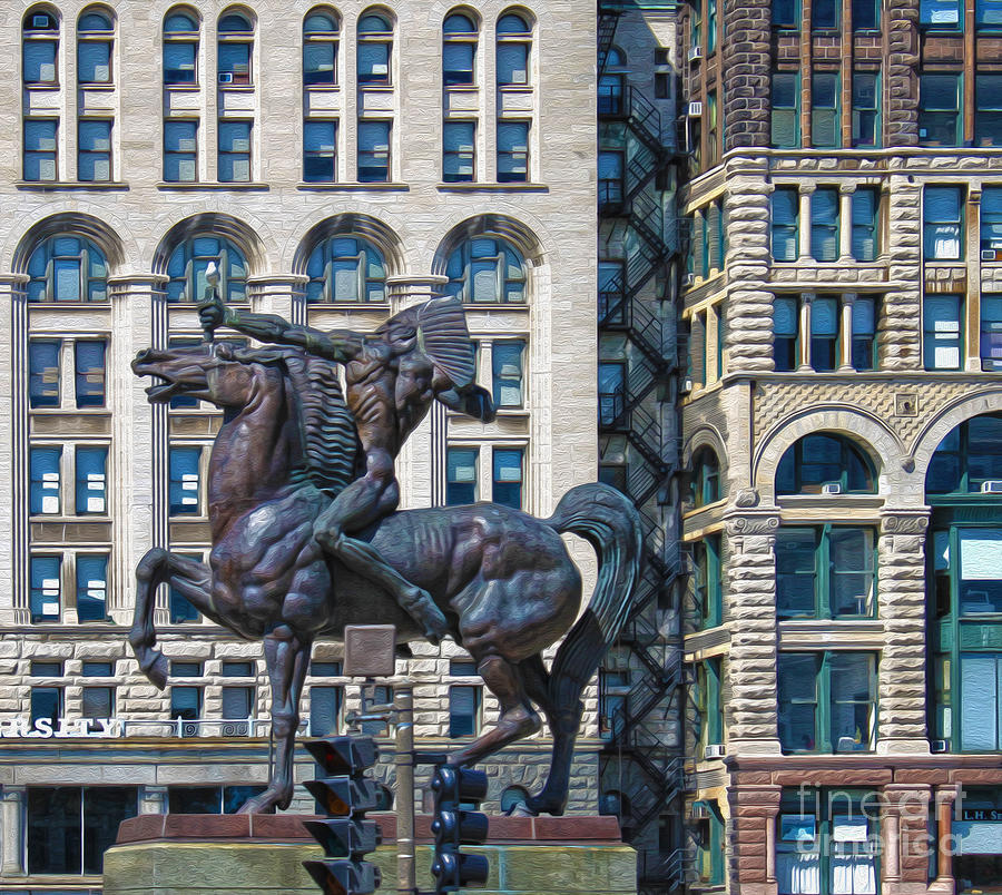 The Bowman Painting - The Bowman - Chicago Indian Statue - 02 by Gregory Dyer