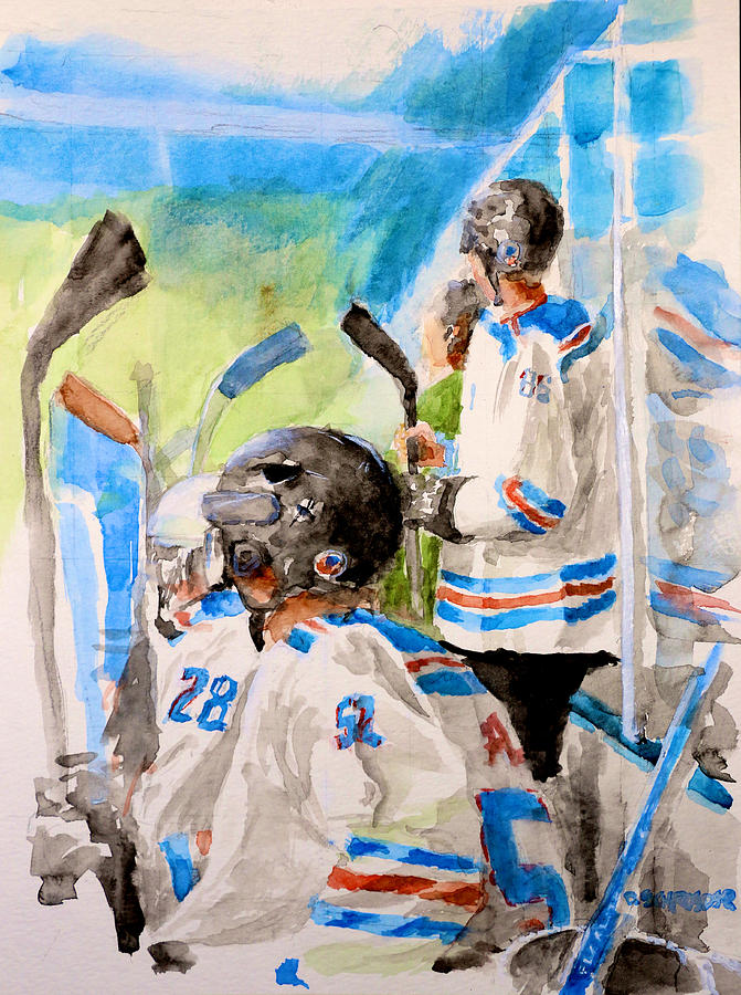 Hockey Painting - The Box by Don Schroeder
