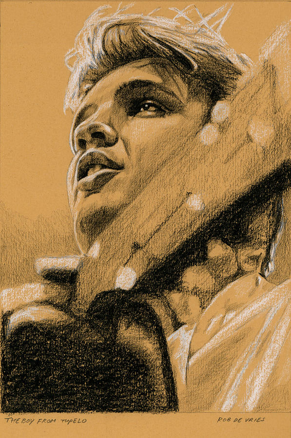 Elvis Drawing - The Boy from Tupelo by Rob De Vries