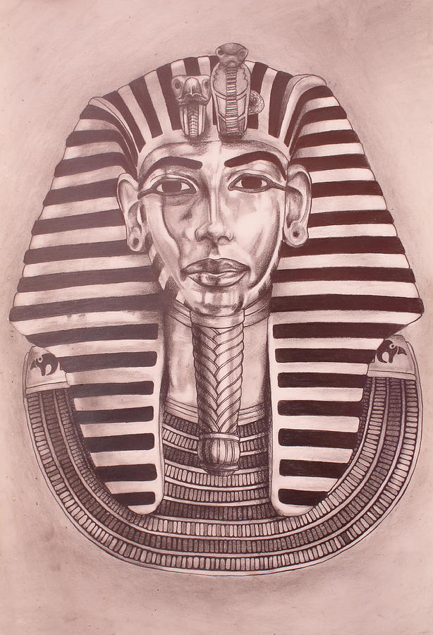 King Tut Drawing - The Boy King by Brent Andrew Doty