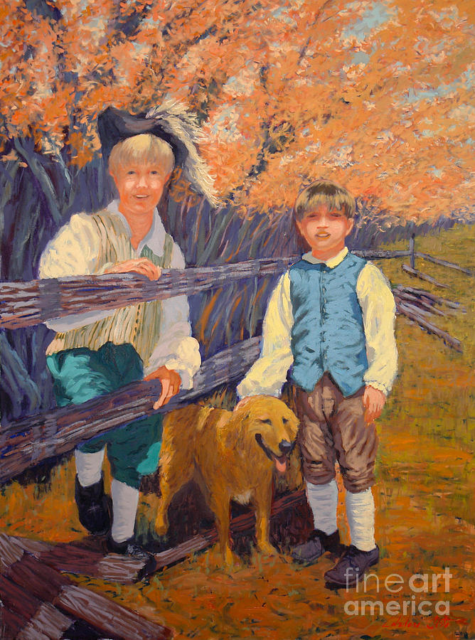 Portraits Painting - The Boys And I by Monica Caballero
