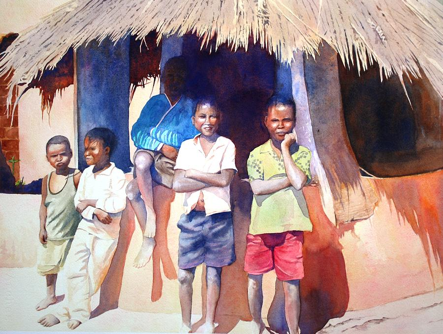 Africa Painting - The Boys of Malawi by Brenda Beck Fisher