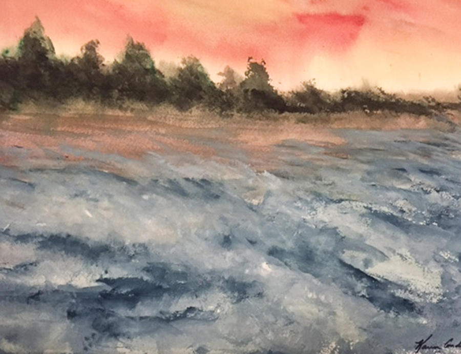 Waves Painting - The Breaker At Sun Set  by Karen  Condron