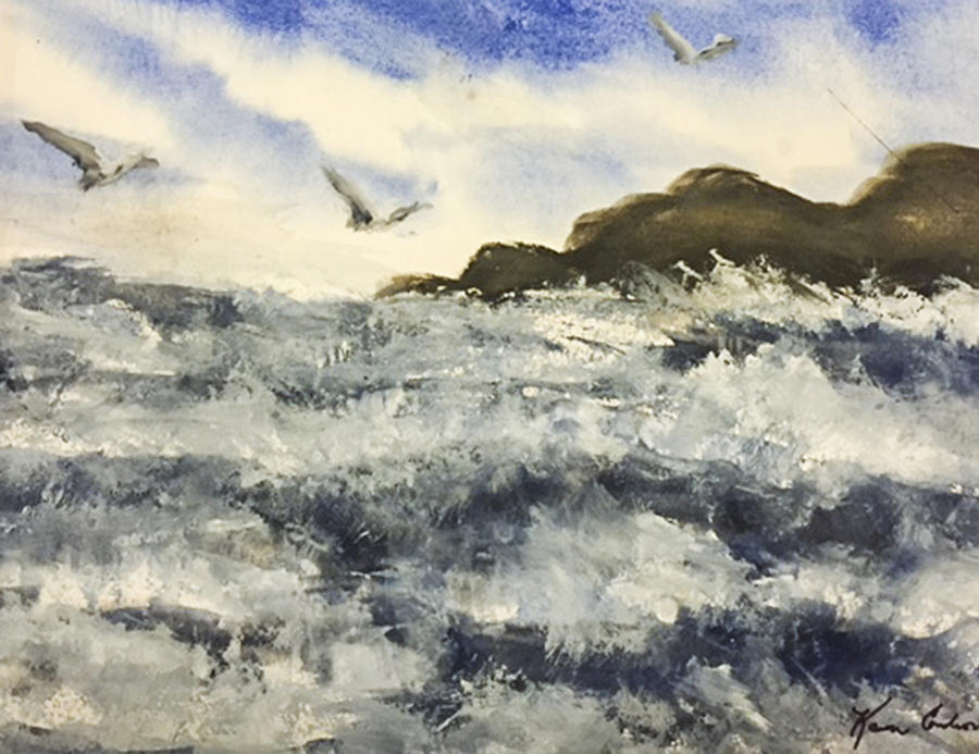 Beach Painting - The Breeze  by Karen  Condron