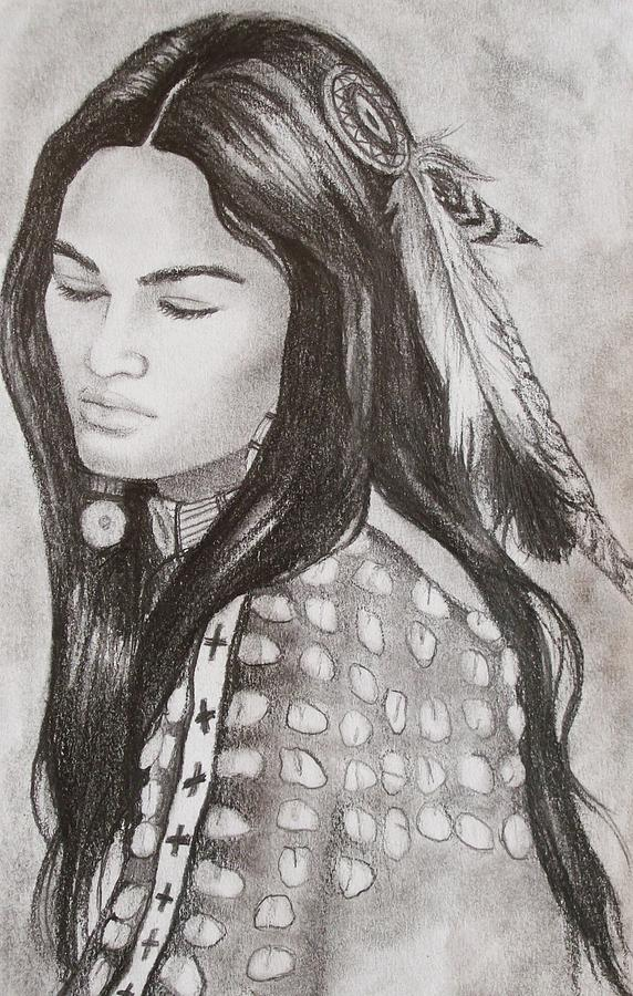 Native American Drawing - The Bride by Amber Stanford