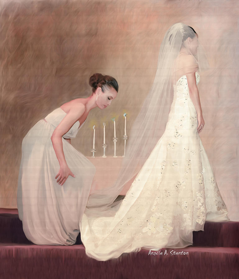 Bride Painting - The Bride And Her Maid Of Honor by Angela A Stanton