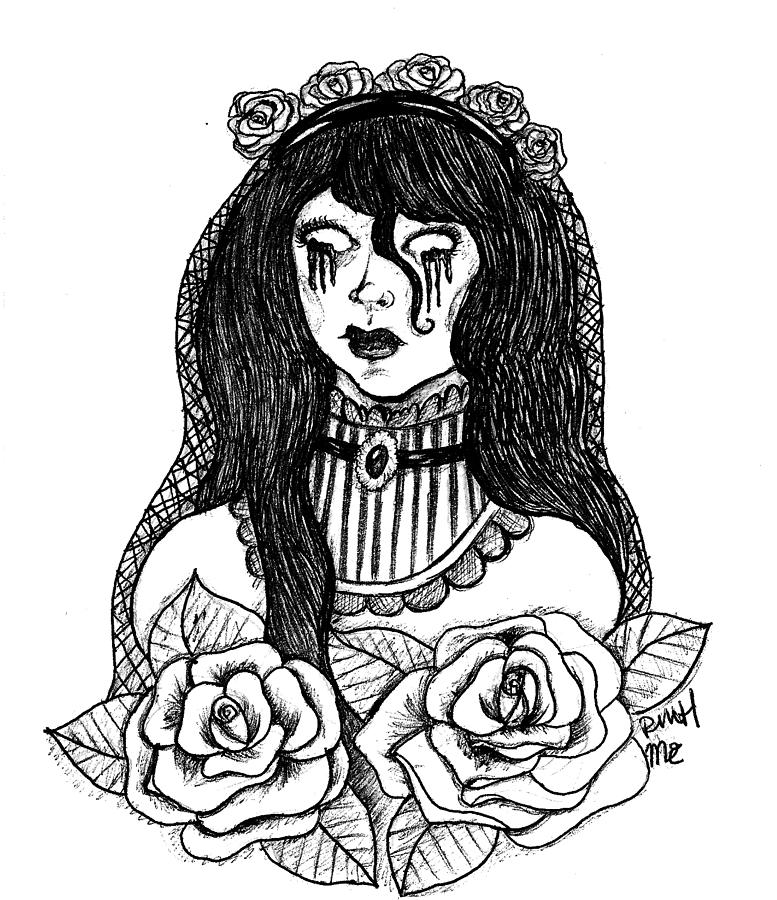 Undead Drawing - The Bride by Mary Ether