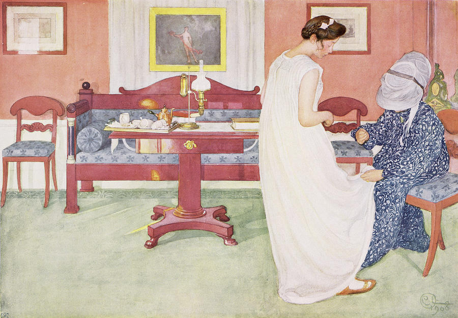 Dress Fitting Painting - The Bridesmaid, Pub. In Lasst Licht by Carl Larsson