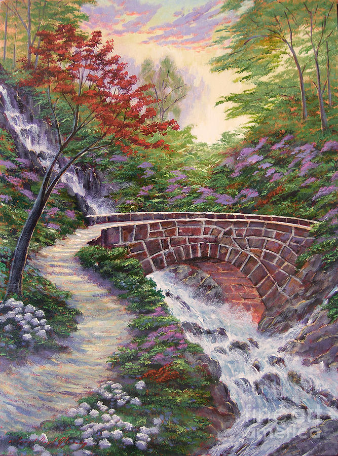 Landscape Painting - The Bridge Across by David Lloyd Glover