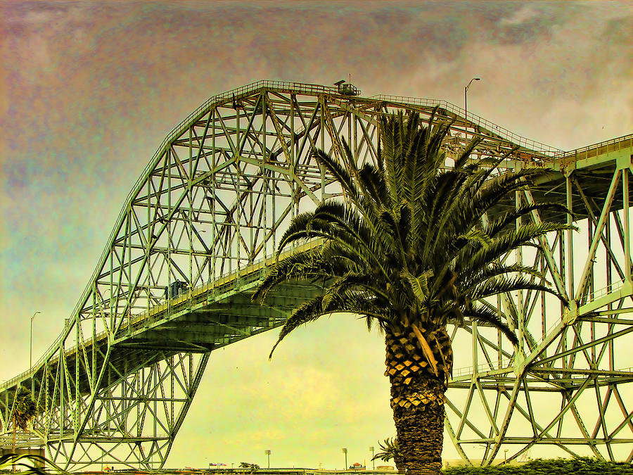 Green Digital Art - The Bridge As The Sun Breaks Through by Wendy J St Christopher