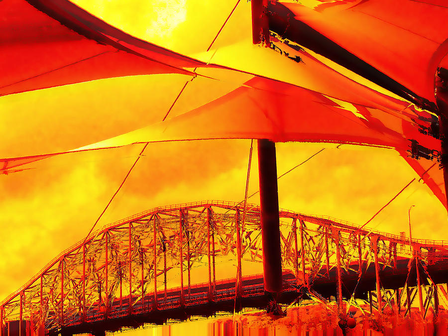 Red Photograph - The Bridge On Mars by Wendy J St Christopher