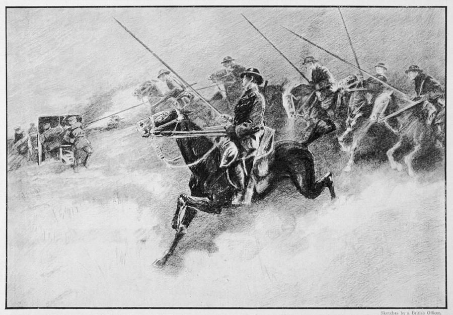 Wwi Drawing - The British Cavalry In Action As Late by Mary Evans Picture Library