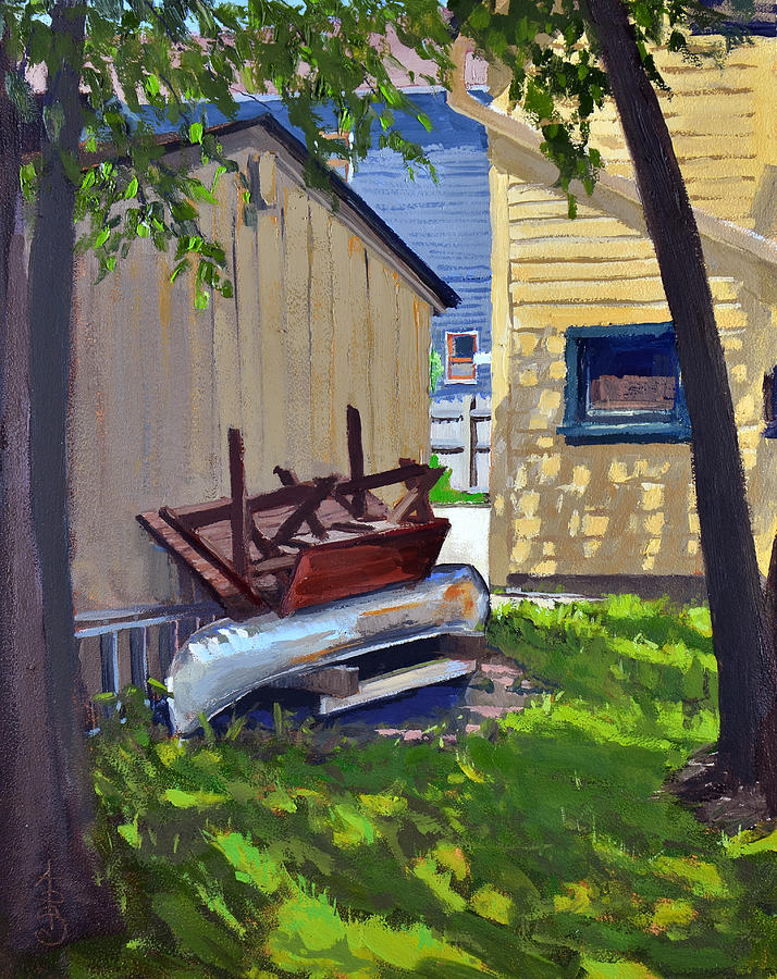Canoe Painting - The Broken Canoe by Anthony Sell