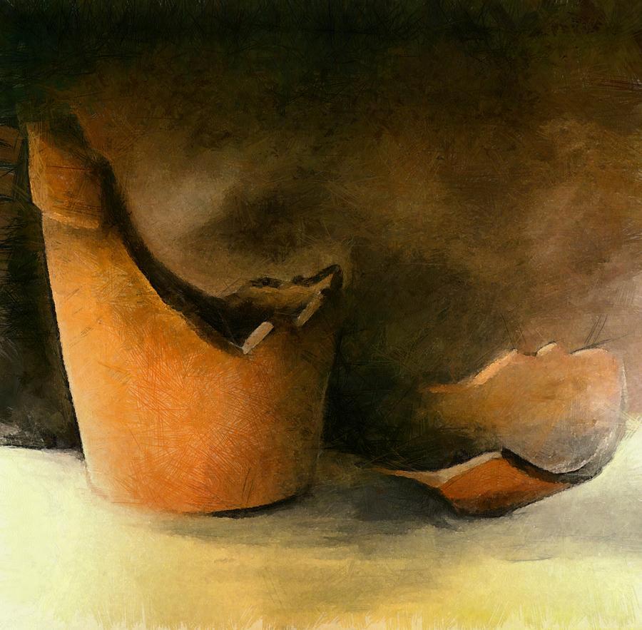 Pot Painting - The Broken Terracotta Pot by Michelle Calkins