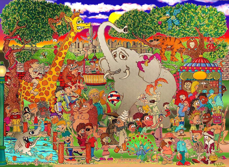 The Bronx Zoo Uncaged Drawing By Paul Calabrese