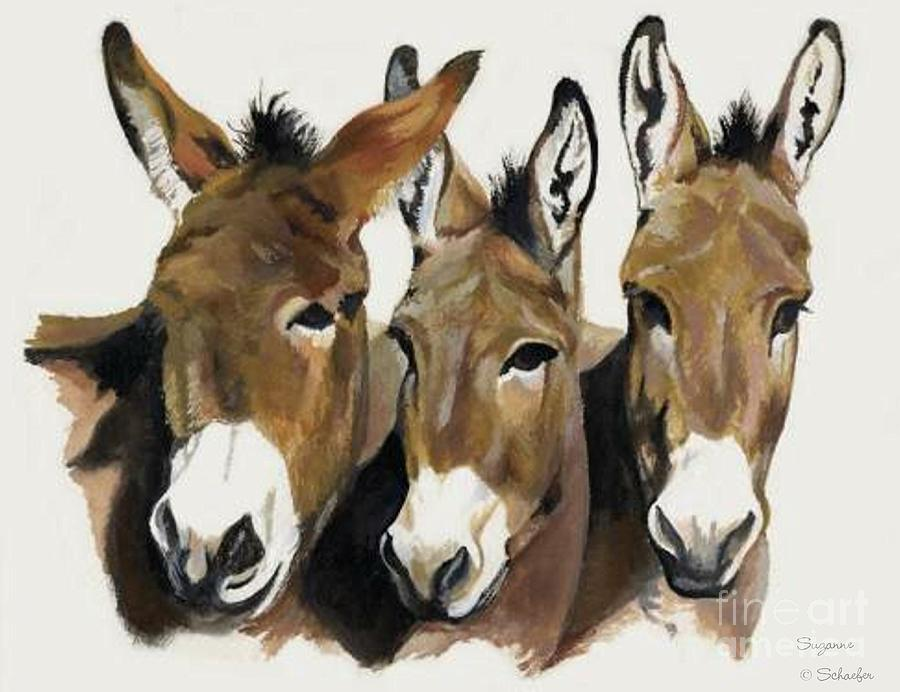 Donkeys Painting - The Brothers Three by Suzanne Schaefer