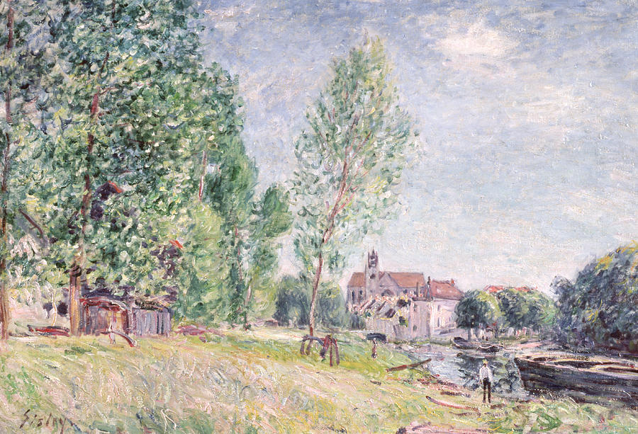 Impressionist; Landscape Painting - The Builders Yard At Matrat Moret-sur-loing by Alfred Sisley
