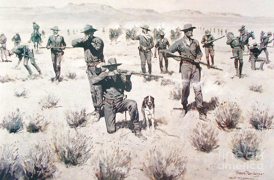 Pd Painting - The Bullets Kicked Up Dust by Pg Reproductions