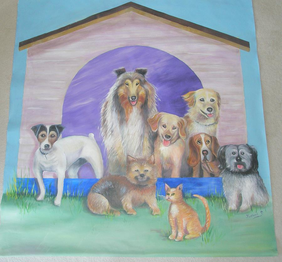 Dogs Painting - The Bunch - Mural On Canvas by Yvonne Seiwell