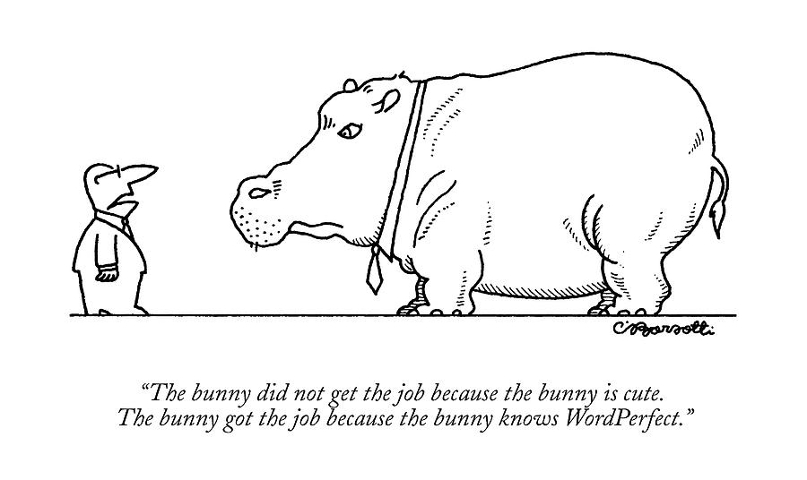 The Bunny Did Not Get The Job Because The Bunny Drawing by Charles Barsotti