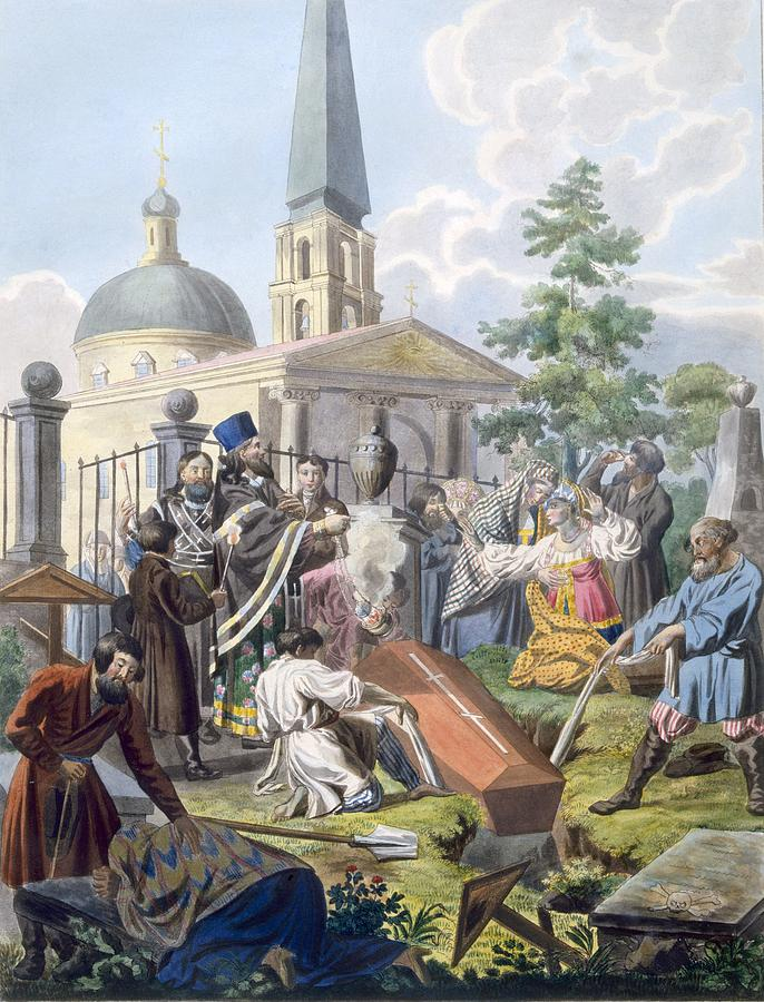 Illustration Drawing - The Burial, 1812-13 by E. Karnejeff