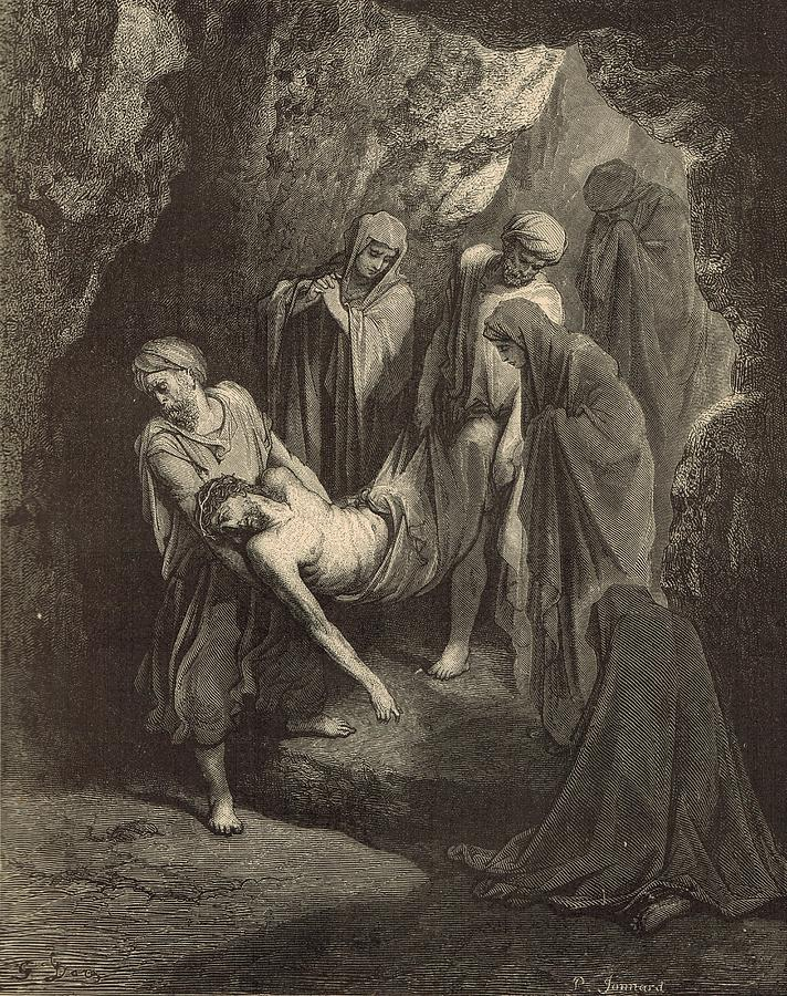 Biblical Drawing - The Burial Of Jesus by Antique Engravings