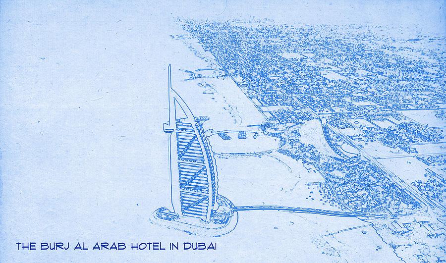The burj al arab hotel in dubai blueprint drawing painting by poster painting the burj al arab hotel in dubai blueprint drawing by motionage designs malvernweather Images
