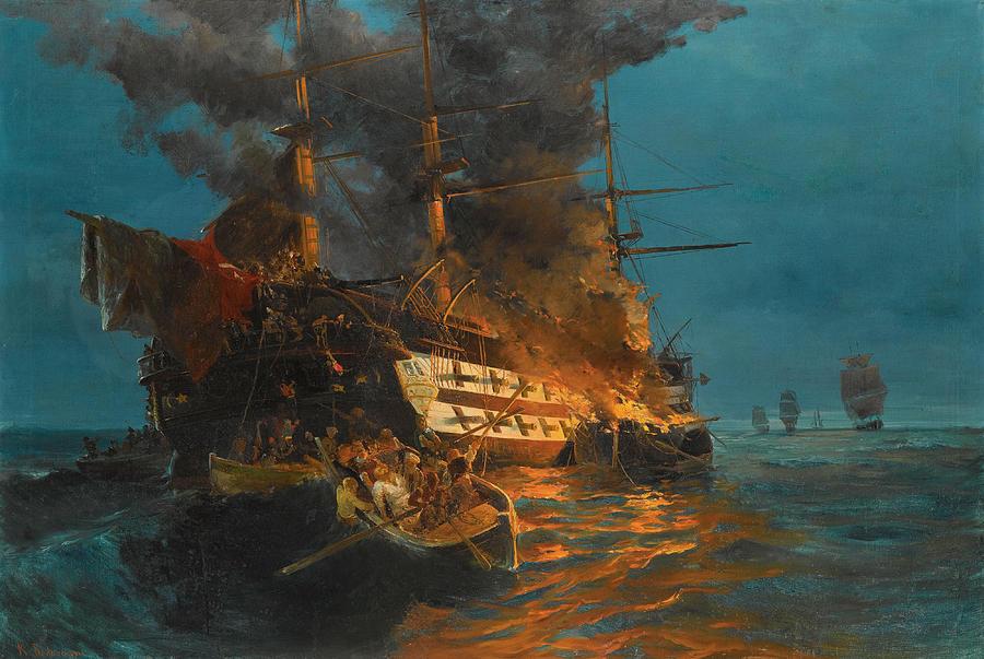 Konstantinos Volanakis Painting - The Burning Of A Turkish Frigate by Konstantinos Volanakis