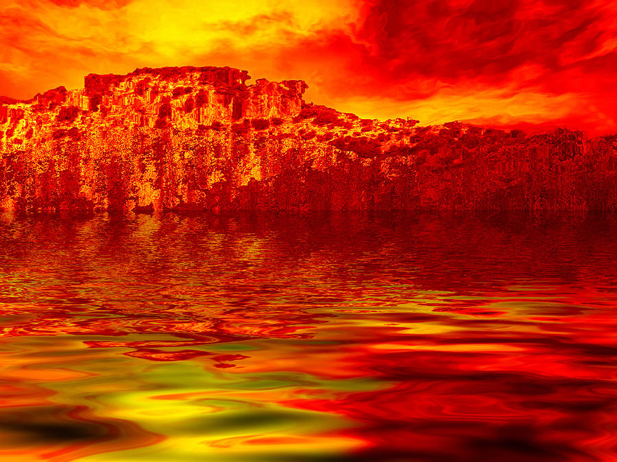 Landscape Digital Art - The Burning Zone by Wendy J St Christopher