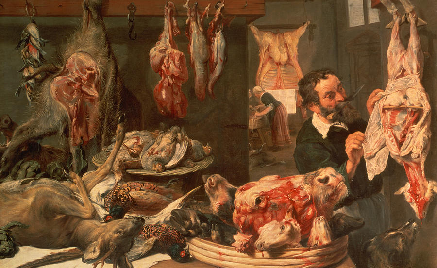 Calf Head Painting - The Butchers Shop by Frans Snyders