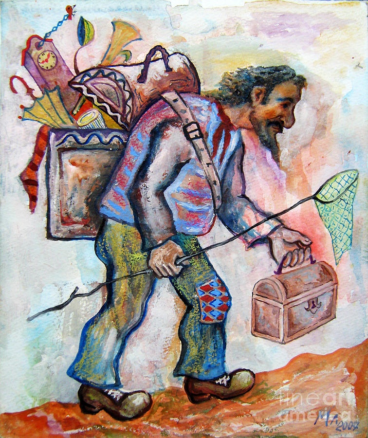 Watercolor  Painting - The Butterfly Hunter by Milen Litchkov