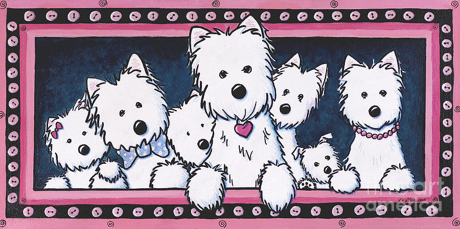 Westie Painting - The Button Nose Gang by Kim Niles