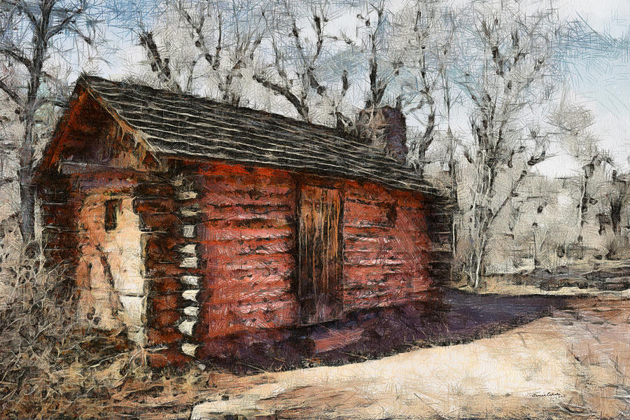 Cabin Digital Art - The Cabin by Ernie Echols