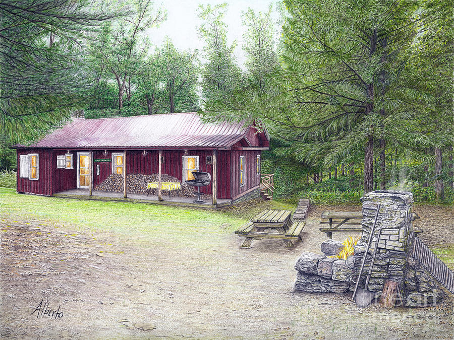 Tionesta Painting - The Cabin In The Woods by Albert Puskaric