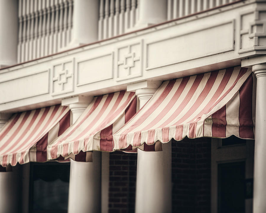 Red Photograph - The Cafe Awnings At Chautauqua Institution New York  by Lisa Russo