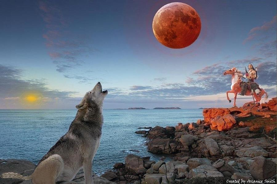 Moon Digital Art - The Call Of The Warrior by Arcanico Luca Smith Acquaviva