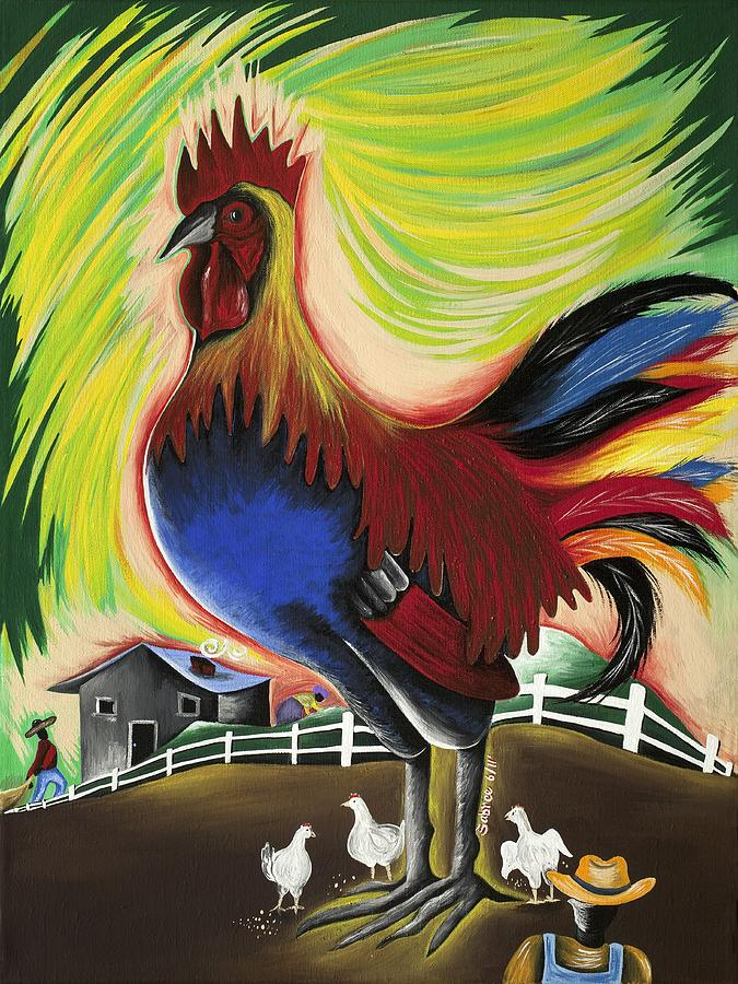 Chicken Painting - The Call Of Valor by Patricia Sabree
